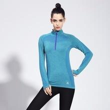 FLANDIS Yoga Shirt Collar Tight Running Sport T-shirt Quick Dry Top Outdoor Fitness Blue Jogging Women High Long-sleeve