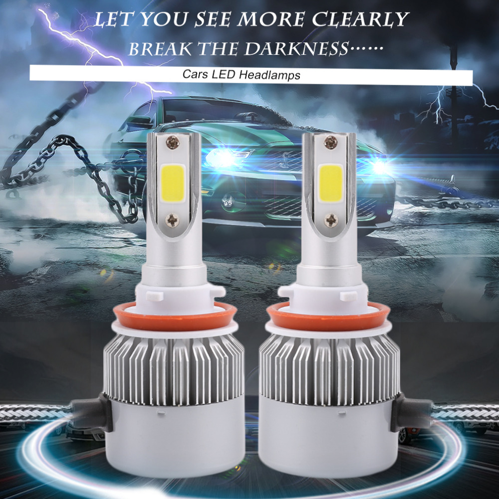 1Pair C6 H8 Car LED Headlamp Bulb Head lights Replace Xenon Headlights 4000LM 12-24V 80W 6000K White LED Light high bright s7 car headlights h7 led auto front bulb automobiles headlamp car lamps white light 6000k light bulbs