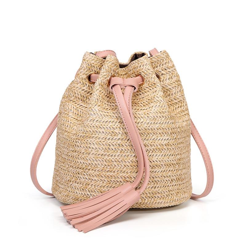 M.S Beach Solid String Mini Bucket Bags Female Summer Knitting Straw Bags Sweet Hot Casual Holiday Crossbody Bag Handbags SW061 (10)