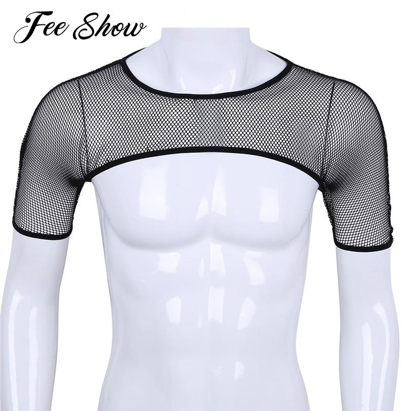 Men/'s Cotton Soft Half Tank Vest Chest Shoulder Harness Muscle Crop Top Clubwear