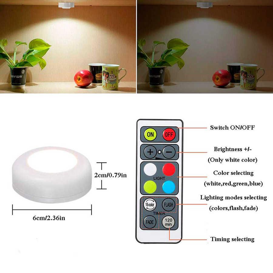 RGBW 16 couleurs LED placard lumières Puck lumières sans fil Dimmable cuisine sous armoire éclairage batterie alimenté veilleuses