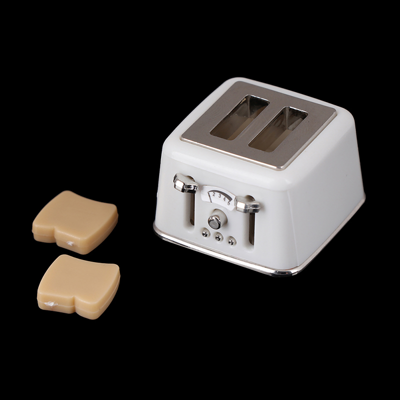 Bread Machine With Toast Miniature Doll Houses Cute Decorations Toaster 1/12 Scale Dollhouse Mini Accessories