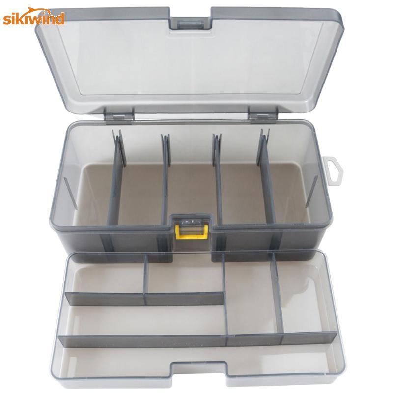 Doble capa de Pesca caja de accesorios señuelos cebo de almacenamiento caso Camarón cajas para atraer cubierta organizador cebos de Pesca contenedor