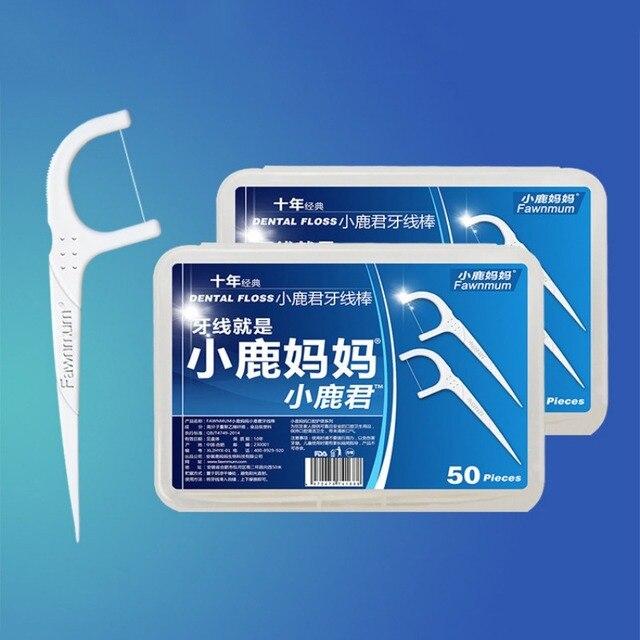 50 unids/caja Interdental hilo Dental cepillo dientes palillo dientes de plástico Nylon dientes hilo Dental