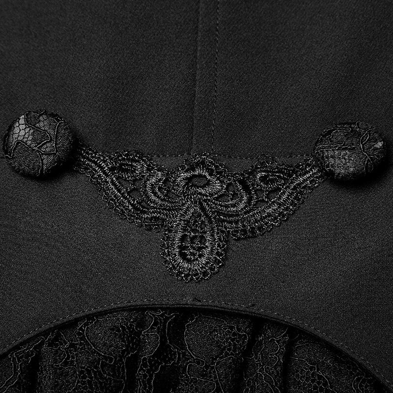 Femelle Boutons Vintage Longue Soirée Pnuk Kera Style De Dentelle Manteau Femmes Victorienne Veste Rave Partie Noir Mode PxqZqnSB