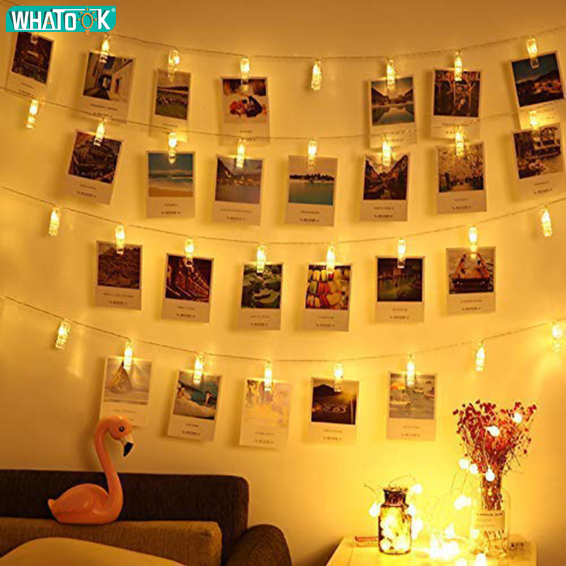 DIY 1.5M 2M 3M 5M Mini LED Photo Clip String Lights Garland Fairy Lamp New Year Christmas Party Wedding Home Decor Battery Box