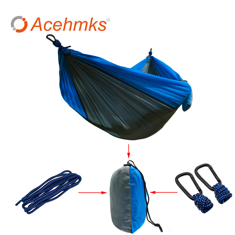 Acehmks Portable Parachute Double Hammock Garden Outdoor Camping Travel Furniture Survival Hammocks Swing Sleeping Bed