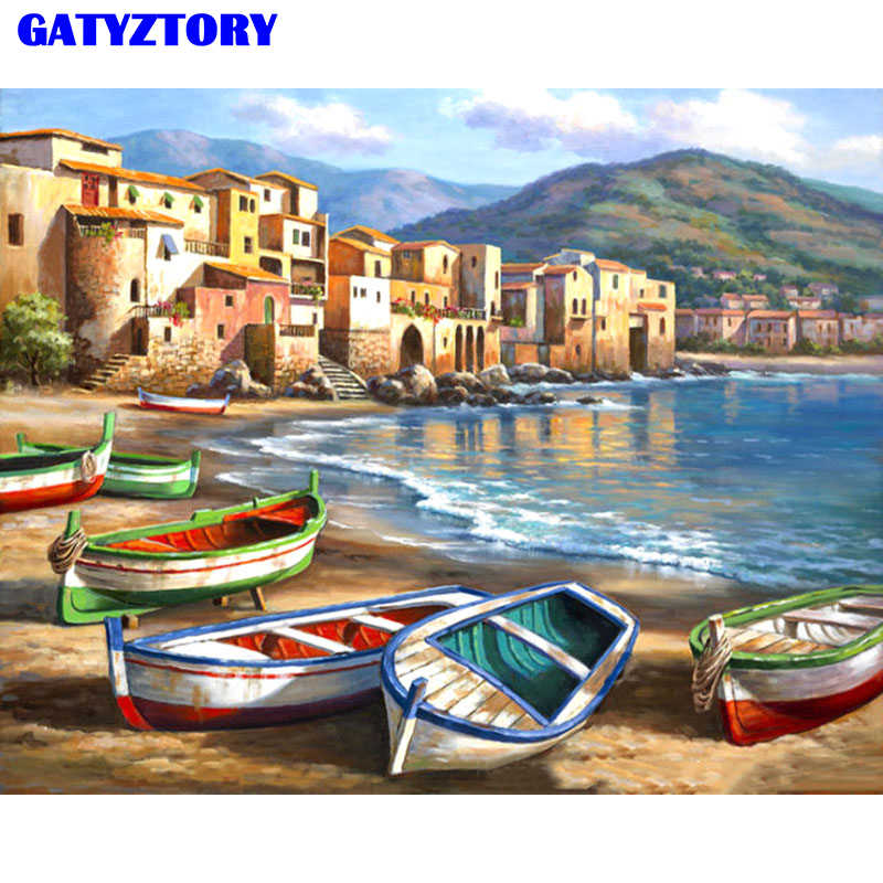 Frameless Beach Boats DIY Painting By Numbers Modern Landscape Wall Art Picture Drawing On Canvas For Living Room Home Decor