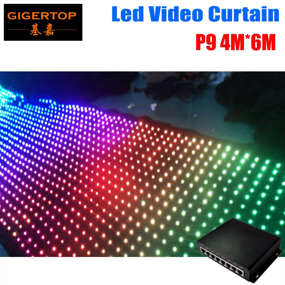Freeshipping P9 4m*6m Led Video Curtain With DMX 512 Stage Light Controller, LED Backdrops For Wedding,nightclub SD Online