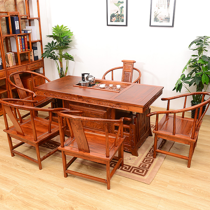 Wood Combo Chair: 1.2 M Chinese Tea Table Tables And Chairs Combination Of