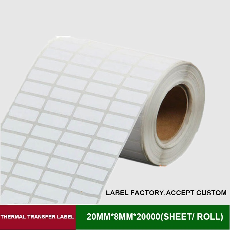 Thermal transfer label 20mm*8mm 20000 sheets per roll 4 row blank adhesive paper can customize use on barcode ribbon printer