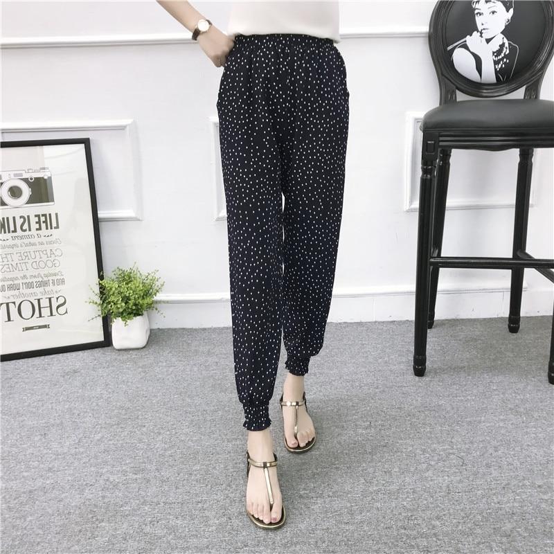 Bohemian Women Pencil   Pants   Summer Beach Wear High Waist SlimTrousers Female Loose Streetwear Casual Printing Dot   Pants     Capris
