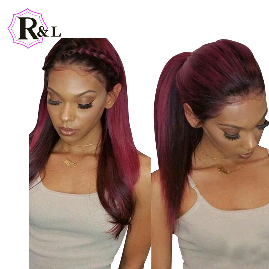 RULINDA Ombre Color T1B Burgundy 13 4 Lace Front Human Hair Wigs With Baby Hair Straight