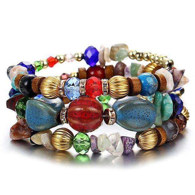 Multilayer Bohemian Beads Crystal Charms Bracelets For Women Ethnic Tibet Imitation Natural Stone Bracelets &Bangles Gift