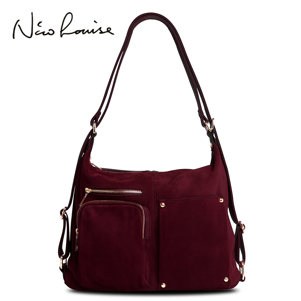 Nico Louise Women Real Split Suede Leather Shoulder Bag Female Leisure Nubuck Casual Handbag Hobo Messenger