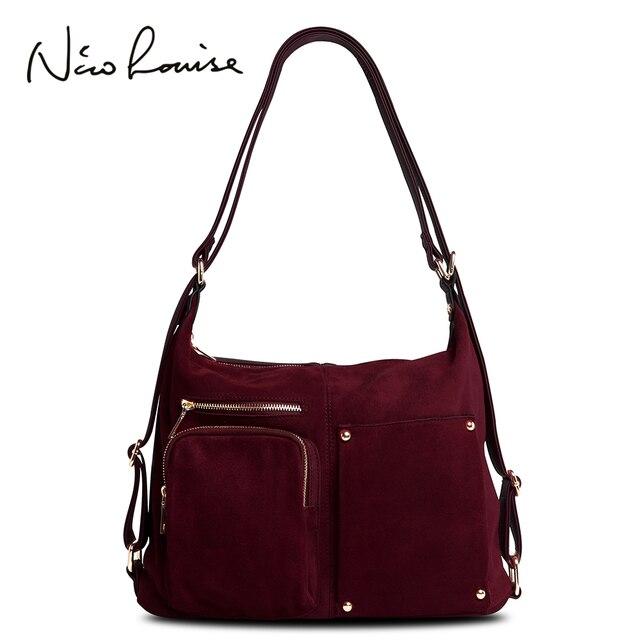 Nico Louise, женская сумка на плечо из натуральной замши, Женская Повседневная сумка из нубука для отдыха, сумка хобо, сумка мессенджер с верхней ручкой, Sac