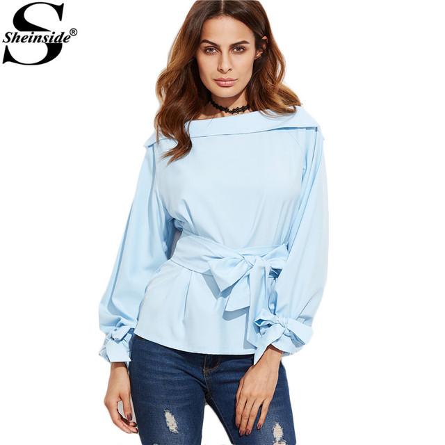 Sheinside 2016 Novas Mulheres Da Moda Camisas Das Mulheres Tops e Blusas Azul Barco Pescoço Com Cinto Cintura Foldover E Cuff Blusa