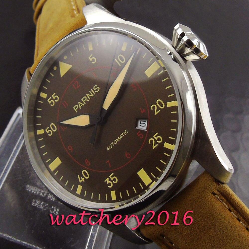 Fashion Parnis 47mm bruin wijzerplaat datumvenster roestvrijstalen - Herenhorloges