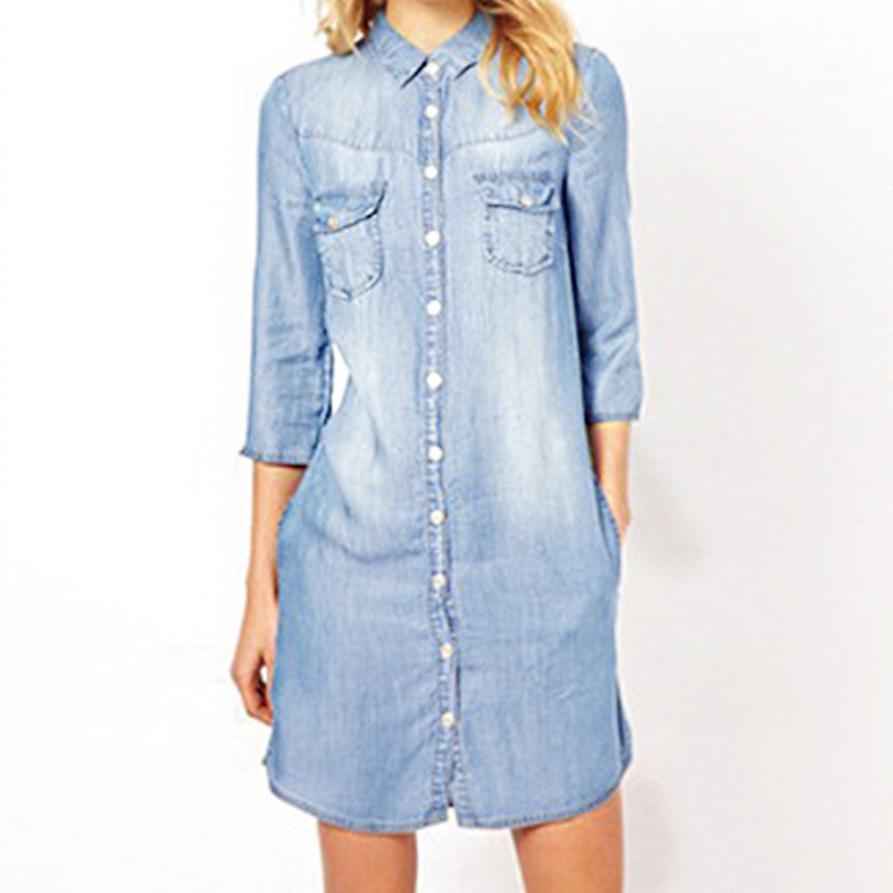 KANCOOLD Dress Women Denim Loose Large Buttons Solid Mini Dress Long Women Seven-Sleeve Casual Dress Women 2018AUG3
