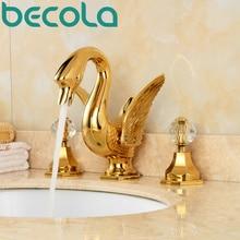 BECOLA брендовый дизайн, три набора, золотистый смеситель для умывальника, кран для горячей и холодной воды, Хрустальный Лебедь, кран для ванной комнаты, DE-8888