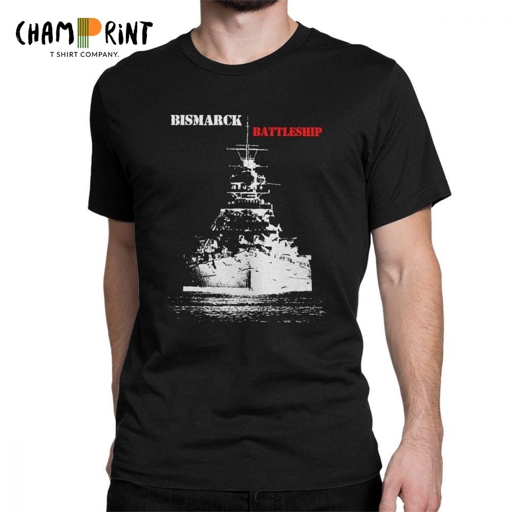 Men's Wehrmacht Bismarck Battleship T Shirts 100% Cotton Clothing Casual Short Sleeve Crew Neck Tees Summer T-Shirts Plus Size