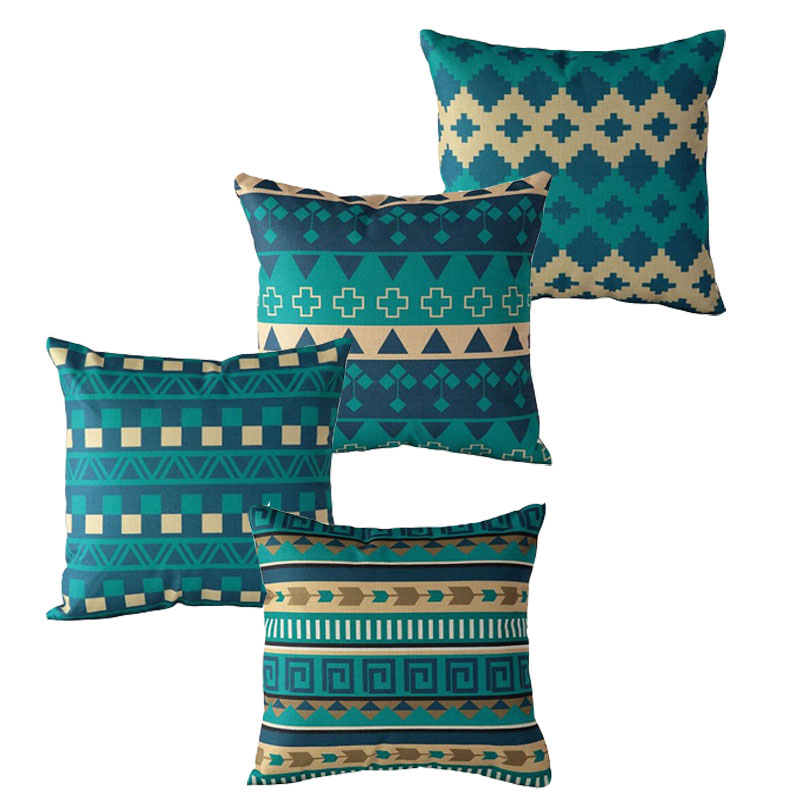 Vintage Bohemian Style Pillowcase Cushion Cover Geometric Pattern Cotton Linen Chair Seat Square Pillow Cover Home Textile
