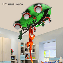 Cartoon creativity monkey ceiling lamp child room Boy Girl Bedroom warmth eye protection LED ceiling lamp free shipping цена 2017