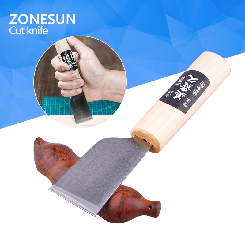 ZONESUN One 1pc DIY Stainless Steel Leather Cutting Knife Leather Craft Tool with Wooden Cutter Tool Hot Sale stainless steel abs diy cookie cutter silver