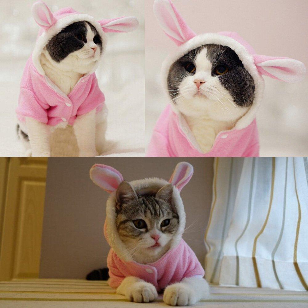 Téli macska ruhák macskáknak Kisállat jelmez Karácsonyi kutya ruhák Aranyos nyúl kabát meleg ruhák vicces fél ruházat 11cY40S2