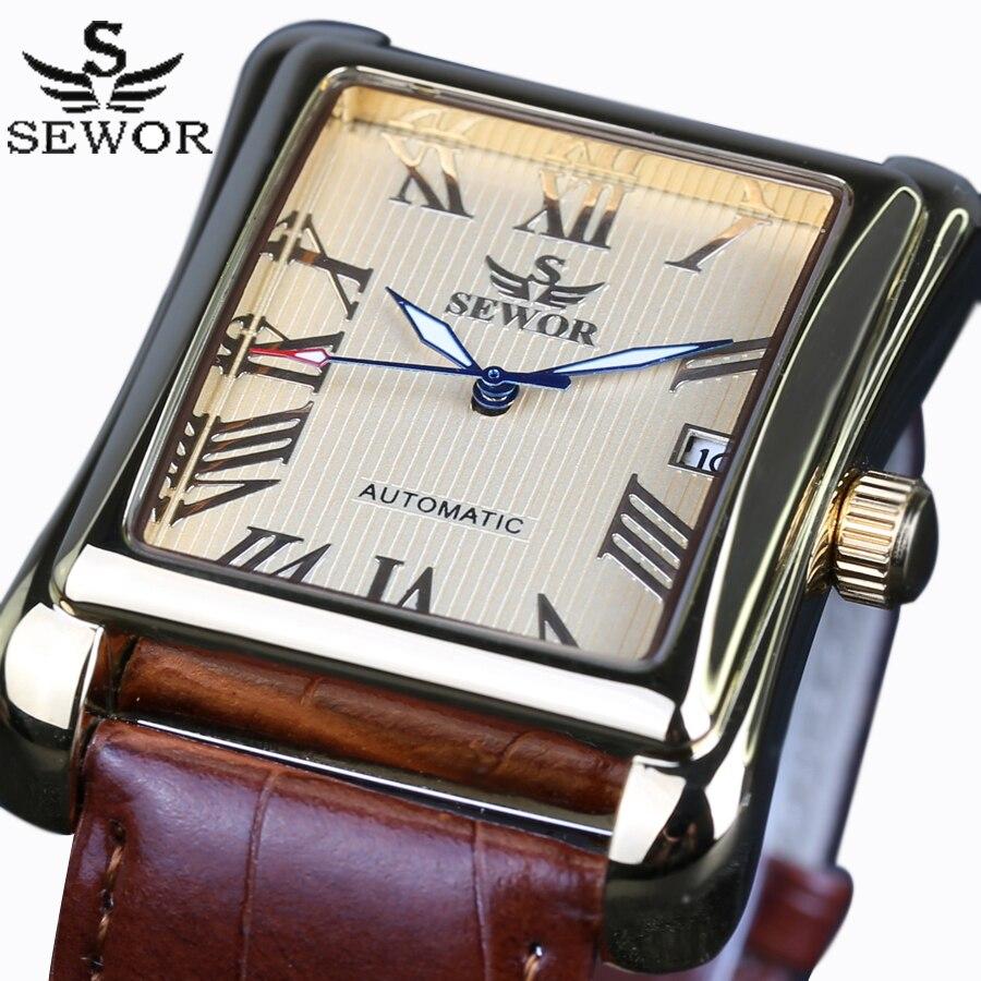 New SEWOR Top Brand Luxury Rectangular Men Watches Automatic Mechanical Watch Roman Display Antique Clock Relogio
