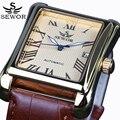 Novo SEWOR Homens Retangulares Relógios Top Marca de Luxo Relógio Mecânico Automático Exibição Roman Relógio Antigo Relógio de Pulso Relogio