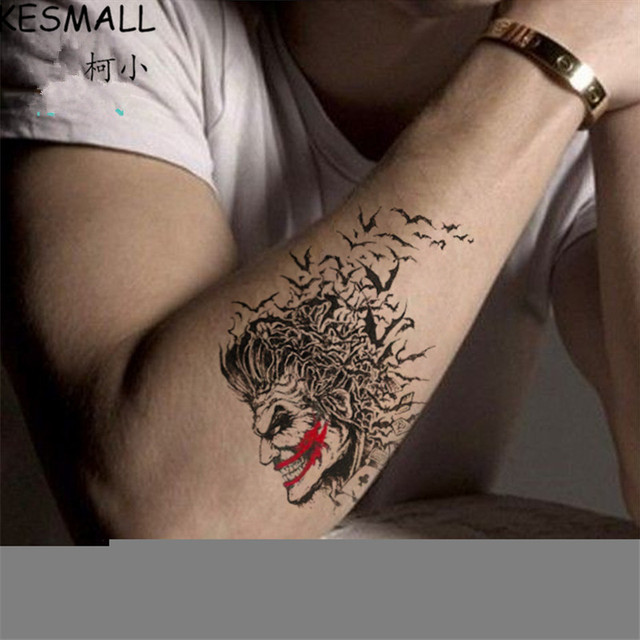 1c8b9edae96 US $2.54 10% OFF KESMALL 5Pcs Clown Temporary Tattoo Sticker 20 X 15 CM  Waterproof Body Art Arm Fake Tattoos Halloween Party Tatto Stickers  CO672-in ...