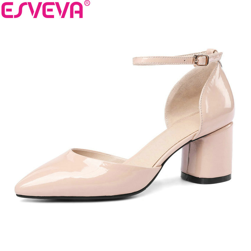 ESVEVA 2018 Women Pumps Buckle Two-piece PU Pumps Square High Heels Pointed Toe Cow Patent Leather Shoes For Woman Size 34-43 sweet women s pumps with two piece and patent leather design