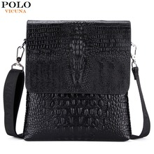 VICUNA POLO Personalized Alligator Pattern bolsa de couro Crocodile Cover Open Thin Mens Shoulder Bag Brand Men Leather Bolsos