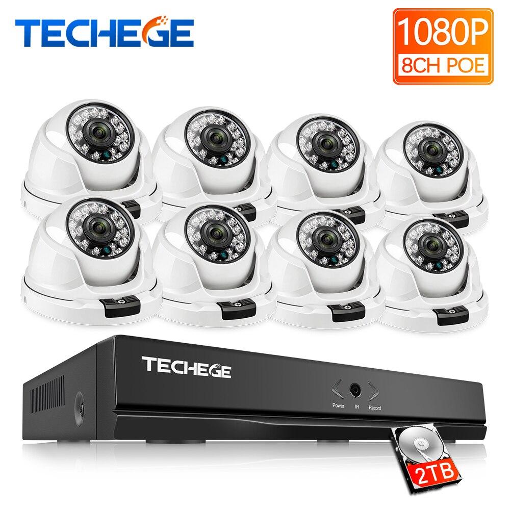Techege 8CH 1080 P POE NVR Vidéo Caméra de Surveillance Système 2MP HD Réseau IP Caméra intérieure Détection de Mouvement CCTV NVR système
