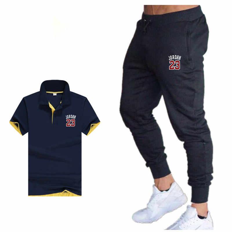 2019 ツーピースセットメンズ服夏のスポーツのスーツポロシャツトラックパンツトラックスーツ男性カジュアルジョーダン 23 tシャツジョギング男性セット