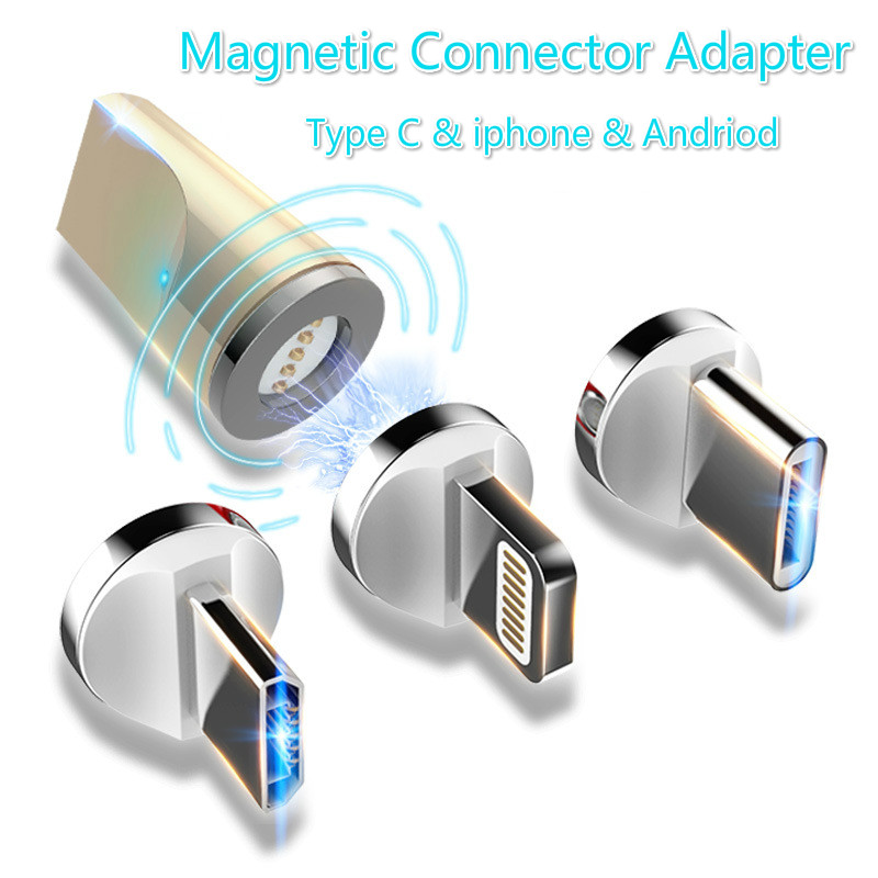 OtgMagnetic Cable Adapter Fast Charging Connector LED Light  Micro Usb Adapter IOS Andriod Type C Adpater For Iphone Samsung