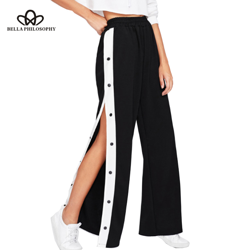 Bella Philosophy Summer Women   Wide     Leg     Pants   Elastic High Waist Split Hit Color Loose Casual Trousers