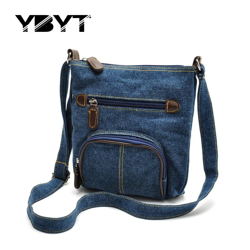 YBYT brand 2017 new denim bucket casual handbags hotsale women shopping coin purse satchel lady shoulder messenger crossbody bag  недорого