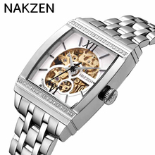 Rectangle Automatic Mechanical Men Watches NAKZEN Unique Design Style Tourbillon Skeleton Male Clock Silver Case Wrist Watch