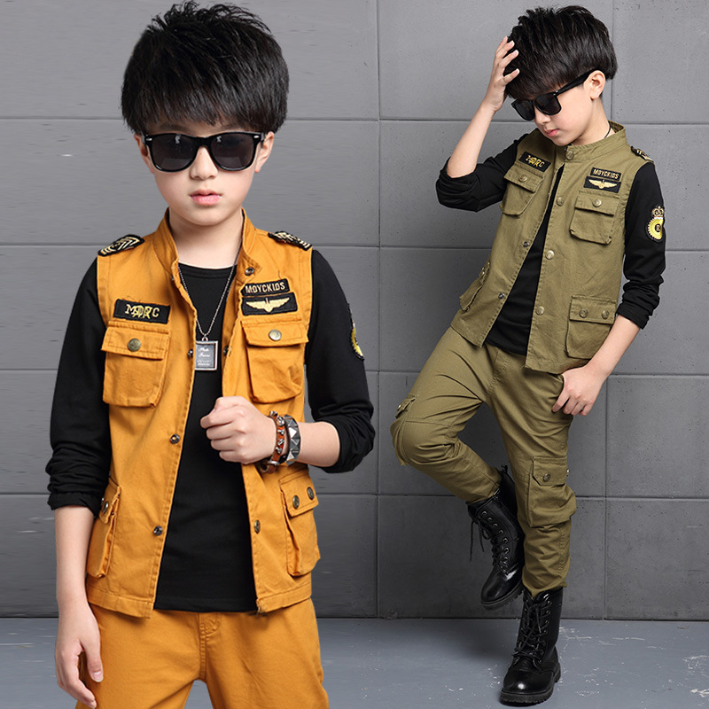 ФОТО 2017 New Spring Children's Cotton Clothing Kids Boys Suit Fashion Casual Sports Large Children Vest Three Sets Clothing