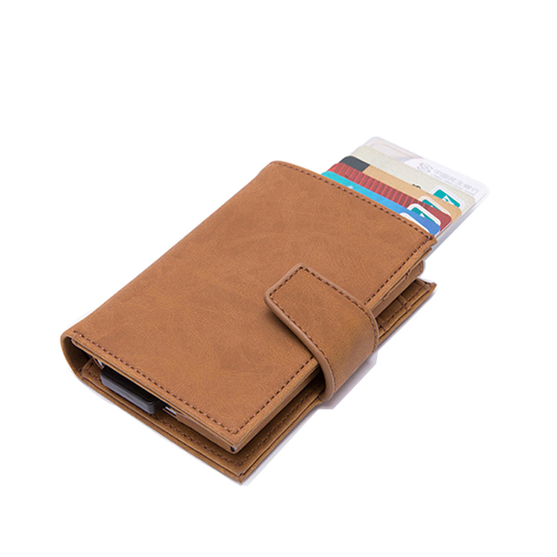 new metal credit card holder automatic pop up vintage aluminum wallet pu leather anti theft rfid. Black Bedroom Furniture Sets. Home Design Ideas