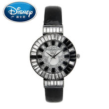 Disney Kids Watch With Diamond Casual Fashion Cool Quartz Wristwatches Girls Waterproof Mickey Mouse Leather clock