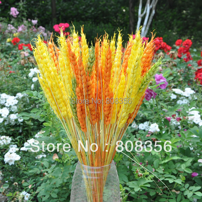 24pcs Artificial Wheat Simulation Wheat Plant Three heads Per Bush for Wedding Home Flower Decoration