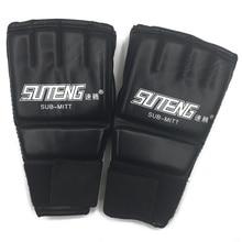 5afdaf67c 1 Par de Couro PU Metade Mitten Mitts MMA Muay Thai Training Punching  Sparring Luvas de Boxe de Ouro Branco Vermelho