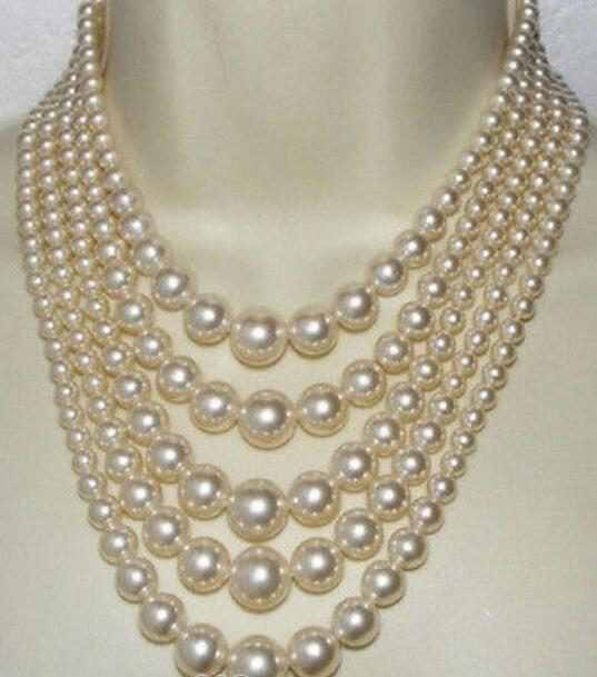 "Beautiful 5row Natural white shell pearl necklace 18""-23"" 6-12 mm"
