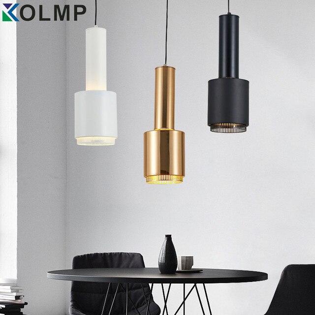 Blanco/Negro/Oro metal lámpara sola cabeza moderna lámpara colgante ...