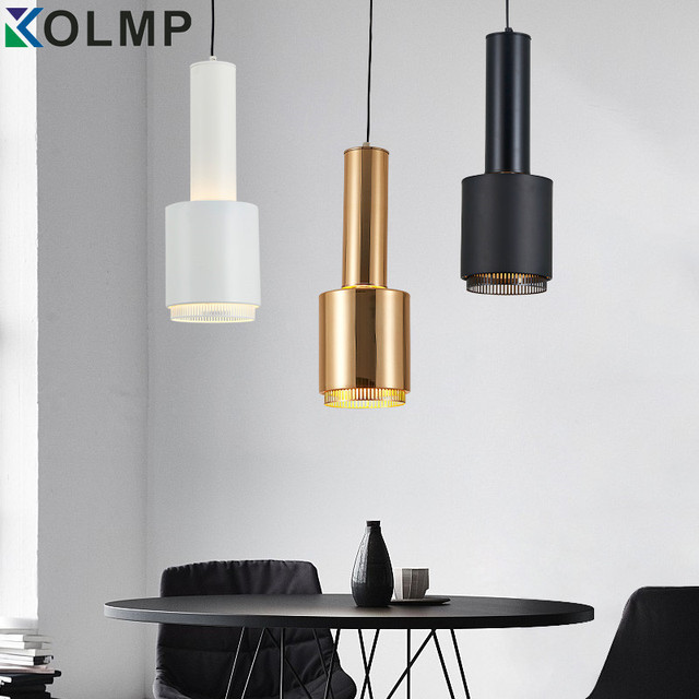 WhiteBlackGold Metal Modern Hanging Lamp Simple Chandelier Single - Gold kitchen pendant lights