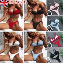 2019 Hot Women Triangular Trunks Bikini Set Bottom Swimwear Cheeky Thong V Swim Sexy Beachwear Solid Black S-XL