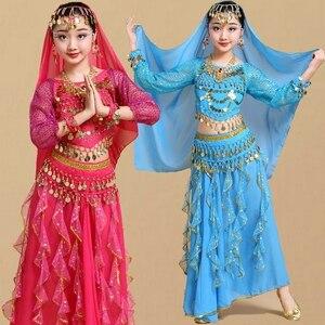 Image 1 - Trẻ em Cô Gái Trang Phục Múa Bụng Trẻ Em Trẻ Em Bụng Nhảy Múa Cô Gái Bollywood Ấn Độ Hiệu Suất Vải Thiết Lập Thủ Công Cô Gái Ấn Độ Quần Áo